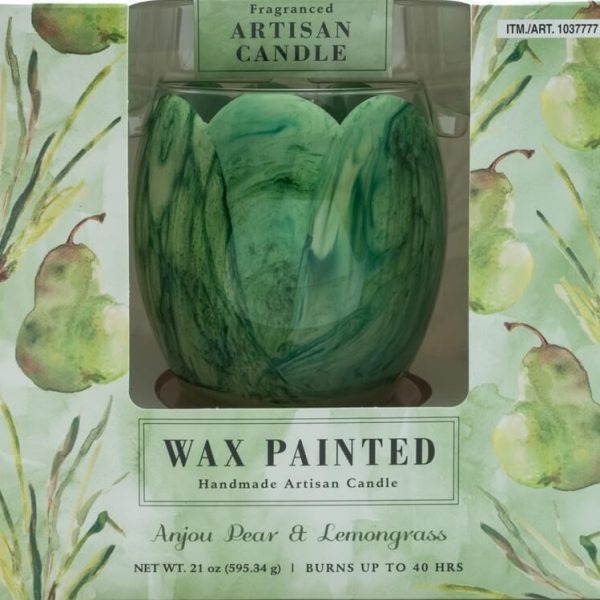 Wax Painted Artisan Candle Glass Container